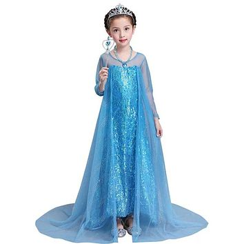Princess Costume - Floor-Length Gown Skirt Elsa Dress - 👗💘👑🎃👠
