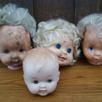 Vintage Rubber Doll Heads Sleepy Eyes Great Creepy Decor Set of 4
