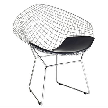 Wire Diamond Chair, Black