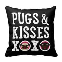 Pugnacious Gifts Pugs & Kisses Black Square Pillow