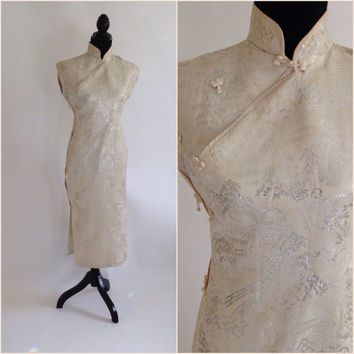 Vintage Cheongsam, Metallic Silver and White Brocade, Asian Style Dress, Chinese Style, Mandarin Collar, Vintage Dress,  Evening Dress