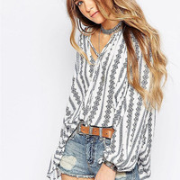 Aztec Printed V-Neck Long Sleeve Loose Blouse