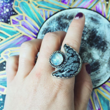 Sterling Silver Ring With Snowflake Obsidian and Moonstone Size 6.5