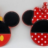Disney Parks Mickey & Minnie Mouse Luggage Tags Set