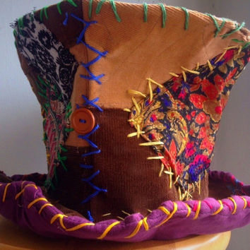 mad hatter top hat, costume hat, festival top hat, burning man, patchwork hat, tea party hat, steampunk hat, circus costume