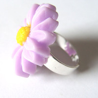 Flower Statement Ring Adjustable Band Lavender Daisy Fashion Jewelry Spring Flower