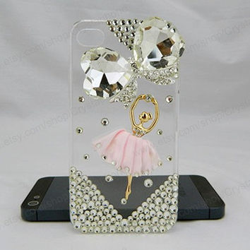 Ballet iPhone case,Ballerina bling,Butterfly iphone 6 case,iphone 6 Plus,Rhinestone iphone 5/5S/5c,iphone 4 case samsung galaxy S3/S4/S5