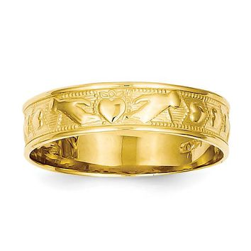 14k Yellow Gold 5mm Wide Claddagh Design Band