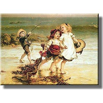 Kids Playing Sea Horses Ocean Picture on Acrylic , Wall Art Decor, Ready to Hang!