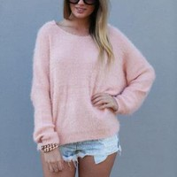 Pink Hooded Oversized Knit Sweater