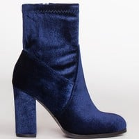 Arlo Velvet Booties - Blue