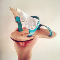 FREE SHIPPING - Hermes winged handmade leather sandal, Turquoise and Silver