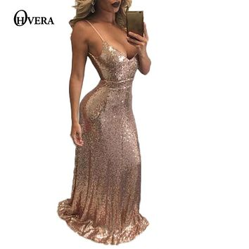 OHVERA High Quality Sexy Women Gold Sequin Long Dresses 2017  Even night Spaghetti Strap Backless Maxi Party Dress Vestido