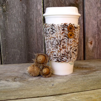 Coffee Cup Sleeve in Off White, Brown, and Rust Marled Yarn with Two Natural Wood Buttons, Coffee Cup Cozy, Coffee Cup Sleeve, Travel Mug