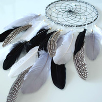 Black Gray Feather Dream Catcher, Dream Catcher Decor, Native American Style, Large Dreamcatcher Gray Silver Bedroom Home Wall Hanging Decor