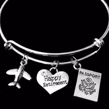 Happy Retirement Traveler Expandable Charm Bracelet Adjustable Silver Wire Bangle One Size Fits All Gift Passport Airplane Travel