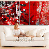 5 Panel Abstract Red and Black Canvas Printing - XXL Wall Art Canvas Painting