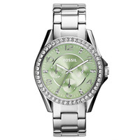 Fossil ES3725 Women's Riley Crystal Bezel Green Dial Steel Bracelet Multifunction Watch