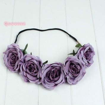 European Hotselling Pink Purple Green Orange Flower Headband Hairband Wedding Beach Party Women Floral Wreath Hair Accessories