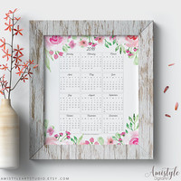 2018 Calendar Printable, Wall Art, Watercolor Prints, Wall Calendar, 2018 Planner, Digital Print, Printable Art, Floral Print, Office Print