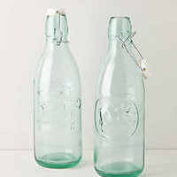 Green Glass Milk Bottles