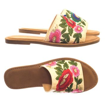 Maintain36 Wide Band Flat Slipper Slide Sandal w Stitched Floral Embrodery