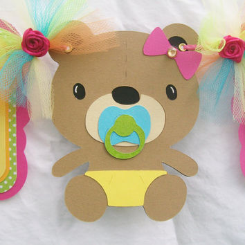 Teddy bear baby shower banner, its a girl banner, pink, blue, yellow, orange and fuchsia pink