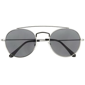 Dapper Double Crossbar Flat Front Round Aviator Sunglasses A144