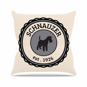 "KESS Original ""Schnauzer"" Beige Black Throw Pillow"
