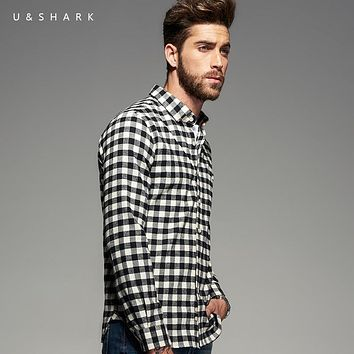 U&SHARK 2017 New Mens Cotton Flannel Shirts Black Plaid Shirt Men Long Sleeve Plaid Casual Shirt Male Check Shirts Brand Clothes