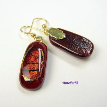 Red Tiger Handmade Dichroic Fused Glass Dangle Drop Earrings Gold Filled