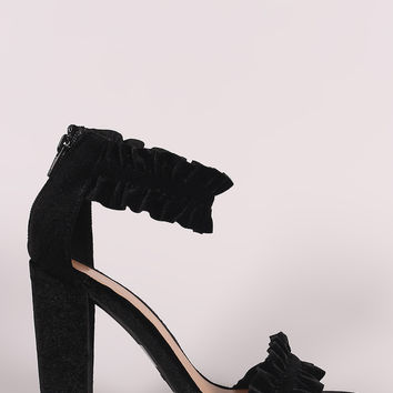 Bamboo Velvet Ruffle-Trimmed Single Sole Chunky Heel