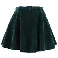 Dark Green Corduroy Skater Skirt