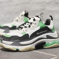 2018 Balenciaga Triple S Neon Green Brand New Casual Sneaker  Couple Shoes