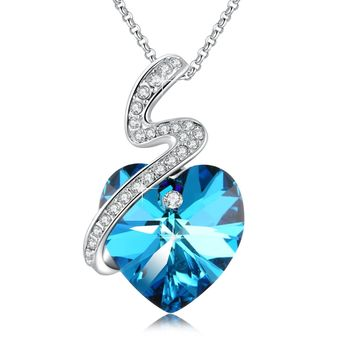 "Swarovski Element Necklace ""Secret of Love"" Heart Jewelry Pendant with Swarovski Crystals, 18"", Blue & Purple, Birthstone Birthday Gift for Women"