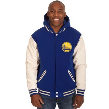 Golden State Warriors Fleece/Faux Leather Hoodie Jacket - Royal Blue