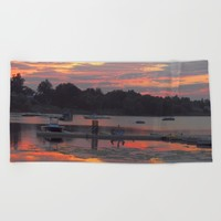 Sunset At The Cove Beach Towel by minx267