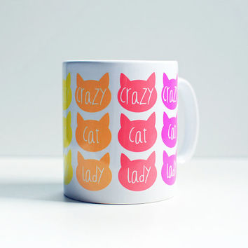 Crazy cat lady coffee mug, bright neon, cat print mug, cat cup, gift for cat lover, Mother's Day gift, funny mugs, funny cats.