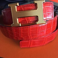 Hermes Red Crocodile Leather Belt With Gold Buckle (Unisex) Birkin Kelly