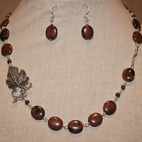 Handmade Mahogany Obsidian Necklace Antiqued Leaf Toggle Clasp Necklace Red Brown Gemstone Statement Necklace