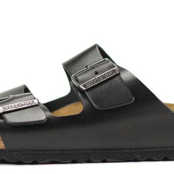 Birkenstock For Men: Arizona Amalfi Black Leather Sandals - Beauty Ticks