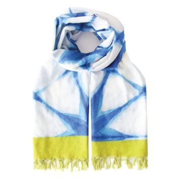 Summer Blanket Scarf - Blue Shibori - Damaged