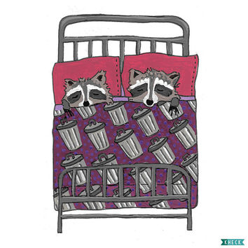 "Raccoon Art, Raccoons, animals sleeping, kid bedroom art, 8.5"" x 11"" fine art print"