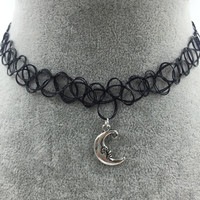 Tattoo Choker with Silver Moon