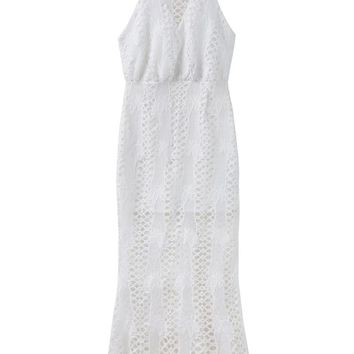 White Cut Out Spaghetti Strap Backless Lace Midi Dress