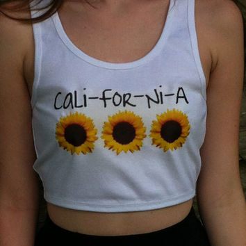 California Crop Tank with Wildflowers by NotThemBasicTops on Etsy