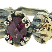 Jewelry Flora Collection Dainty Rhodolite Garnet and Diamond Ring