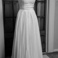 Amanda-City Country Beach Bride-Custom A-line V neck Cap Sleeves Lace Chiffon Wedding Dress Gown