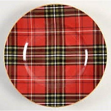 """Tartan Plaid Red & Green Christmas 8"""" Salad Plates  NEW 222 Fifth Wexford (Multiples available)"""