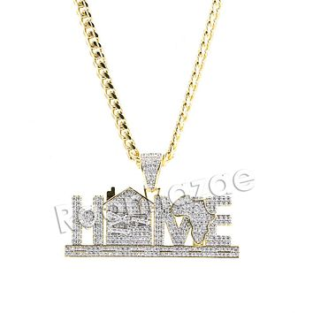 "Hiphop Iced Out ""Africa is my Home"" Brass Pendant W/ 5mm 18-30 inches Cuban Chain"